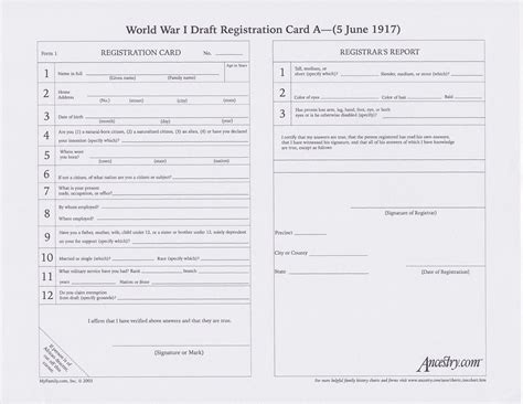 draft card template a world war i draft registration card blank gather up