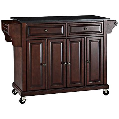 Black Kitchen Island Cart Dover Black Granite Top Mahogany Kitchen Island Cart