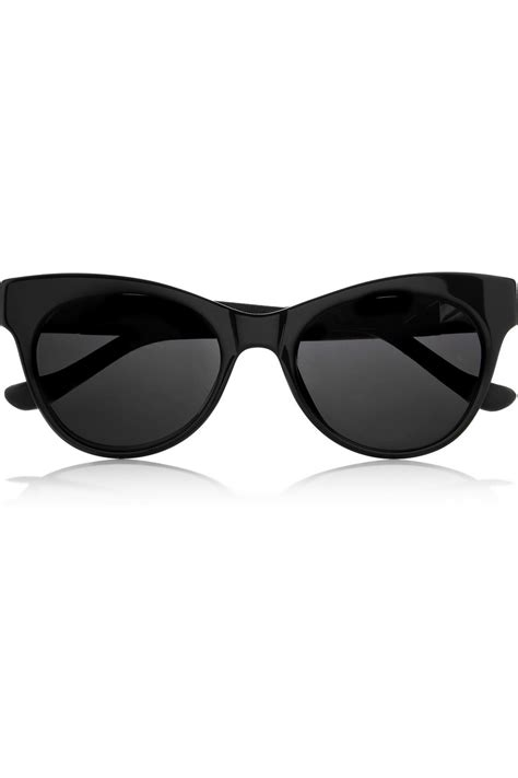 the row cat eye leather trimmed acetate sunglasses in