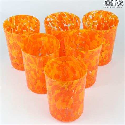 bicchieri per limoncello 6 bicchieri in vetro di murano limoncello arancio