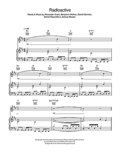 printable radioactive lyrics radioactive sheet music by imagine dragons piano vocal