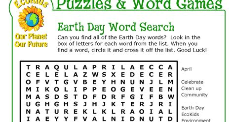 Earth Day Word Find Printable
