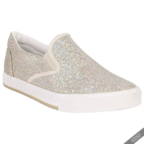glitter shoes for floral glitter slip on plimsolls trainers