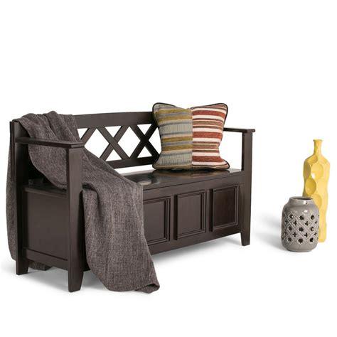 dark brown storage bench simpli home amherst dark brown storage bench int axcab