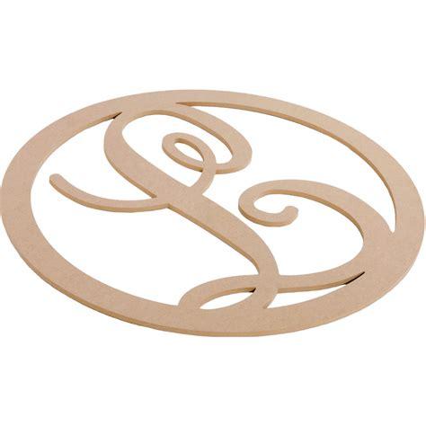a wooden l 23 quot script circle monogram wooden letter l ab2245