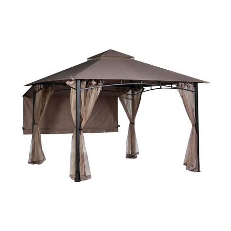 gazebo awning hton bay shadow 10 ft x 10 ft roof style garden