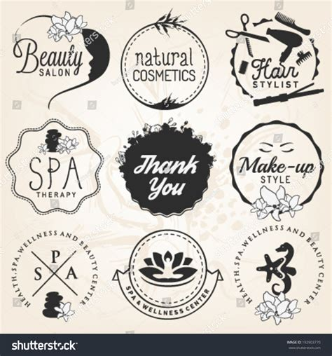 Hair Style Tools Name Farm by Salon Spa Wellness Design Elements Stock Vector