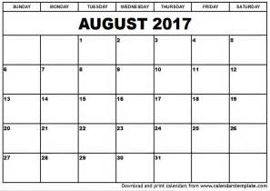 Calendar 2017 August Template August 2017 Calendar Printable Template With Holidays Pdf