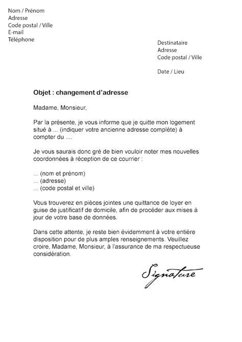 lettre de changement d adresse imp 244 t mod 232 le de lettre