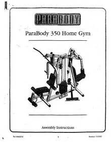 225 Bench Press Workout Parabody Home Gym 350 User S Guide Manualsonline Com