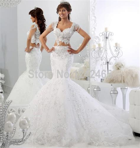 cap sleeve robe mariage bridal dress mermaid v