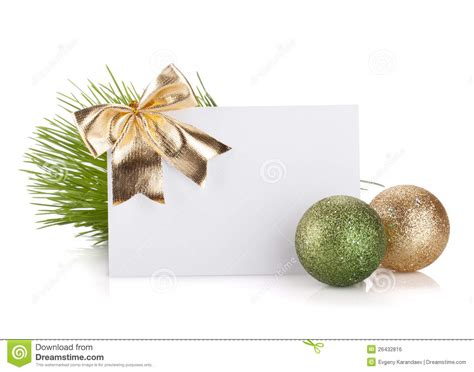 Empty Gift Cards - empty christmas gift card and balls royalty free stock image image 26432816