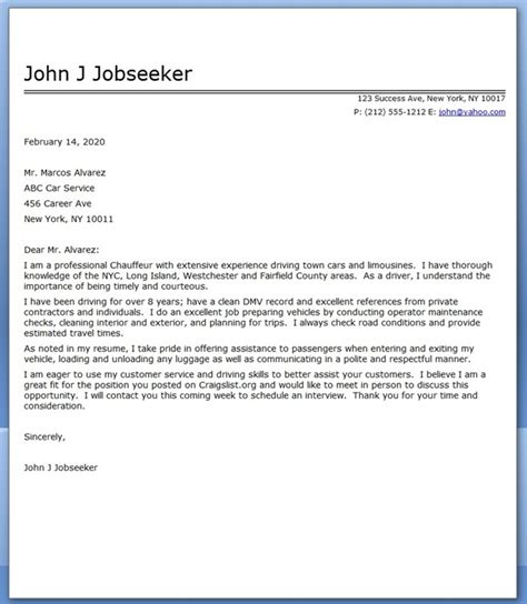 Service Letter For Driver Chauffeur Cover Letter Sle Resume Downloads