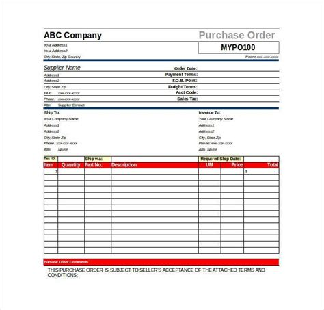 purchasing manual template purchase order template 8 free excel word template