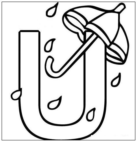 U Coloring Pages Free by Umbrella Printable Az Coloring Pages