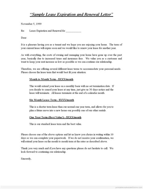 Letter Template To Lease Printable Sle Lease Expiration And Renewal Letter Standard 2 Template 2015 Sle Forms