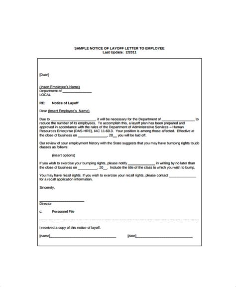 Small Business Layoff Letter Docoments sle layoff notice template 6 free documents