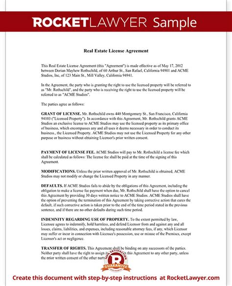 Facility Use Agreement Template Real Estate License Agreement Form License Agreement Template Property