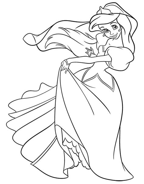 princess little mermaid coloring pages princess ariel in pretty dress coloring page disney