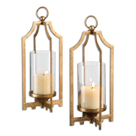 home decor candle holders lucy gold candleholders set of two uttermost