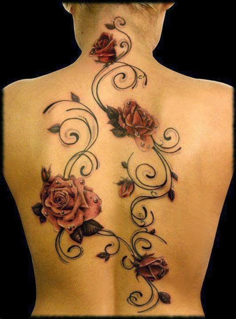 full body rose vine tattoo 4 orange roses tattoo on back images