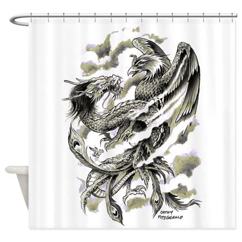 tattoo shower curtain uk dragon phoenix tattoo art a4 shower curtain by