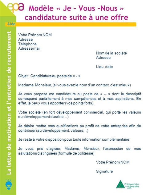 Lettre De Motivation Par Mail Modele La Lettre De Motivation Et L Entretien De Recrutement Ppt T 233 L 233 Charger