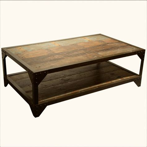 industrial wrought iron wood 2 tier coffee table
