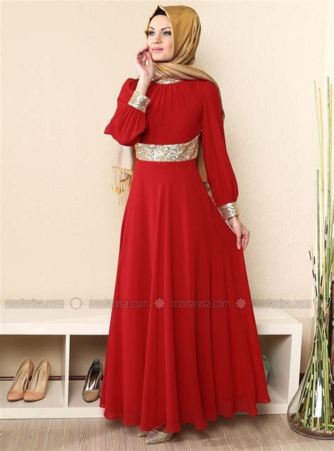 Flowery A Line Muslim Dress fashion dress a line floor length sequined o neck beautiful muslim evening
