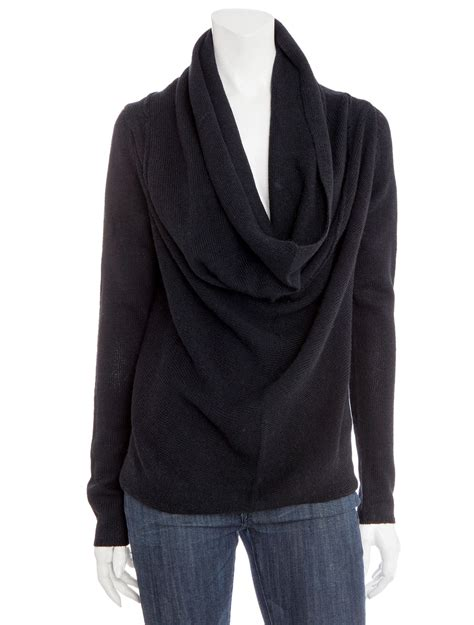 draped cowl neck sweater vince draped cowl neck wool sweater in black lyst