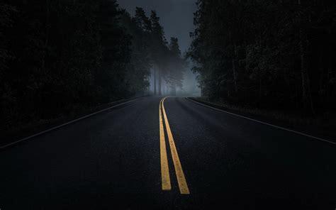 Wallpaper Dark Road   wallpaper road night darkness dark tree desktop