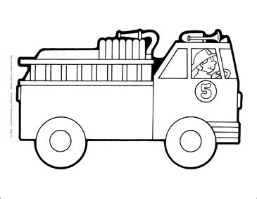fire truck bw reproducible pattern printable clip art