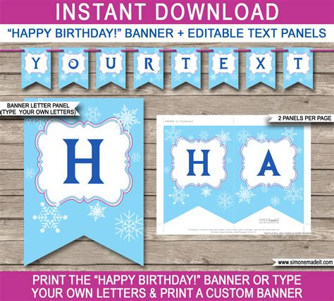 Frozen Party Banner Template Birthday Banner Editable Bunting Happy Anniversary Banner Template
