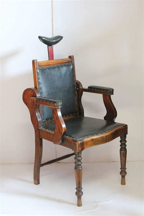 unique antique american leather  wood adjustable chair  sale  stdibs