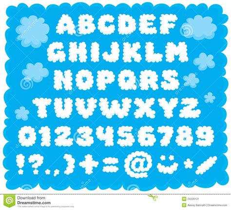 5 Letter Words Using Cloud cloud shaped font stock vector image of child bold