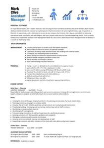 Assistant Description Resume by Assistant Manager Resume Retail Cv Description Exles Template Duties Sles
