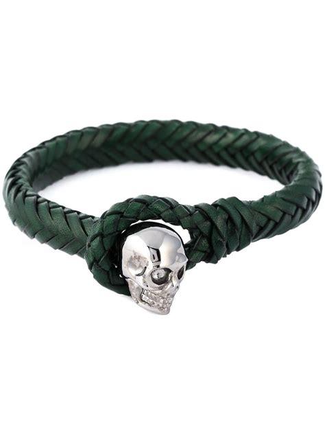 Skull Woven Bracelet mcqueen woven skull bracelet in green for lyst