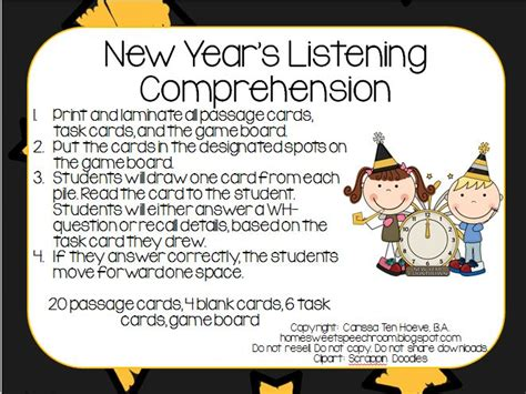 new year language activities 106 best comprehension activities images on