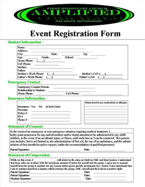 event registration form template lified event registration permission slip