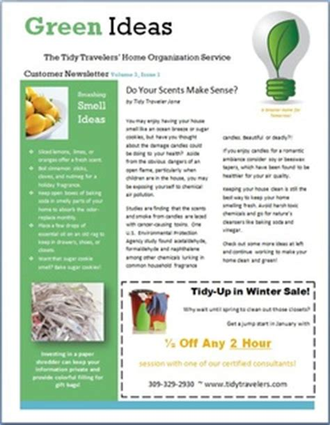 Customer Newsletter Green Ideas Customer Newsletter Hjshs Technology Class