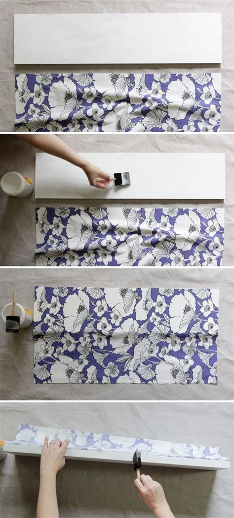 Decoupage With Fabric On Wood - how to decoupage fabric onto shelves mod podge rocks