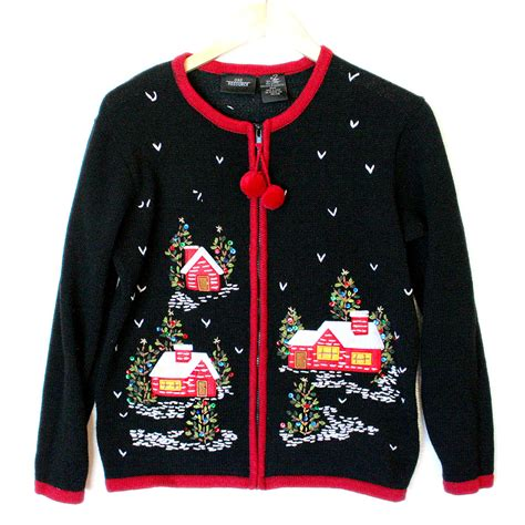 christmas cabins at night tacky ugly holiday sweater the