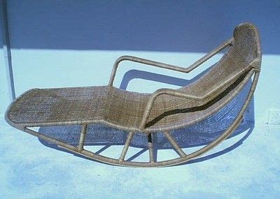 chaise lou stylish mid century modern italian rattan wicker rocking