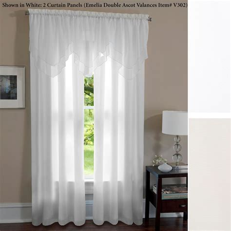 emelia sheer voile double ascot valance window treatment lia lined voile curtain panels