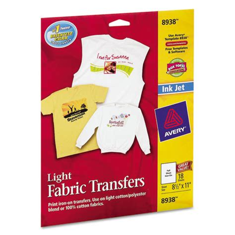 avery printable fabric for inkjet printers avery 8938 light fabric transfers for inkjet printers 8 1