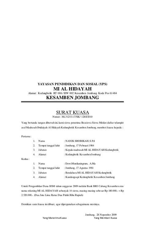 format surat kuasa english surat kuasa bsm