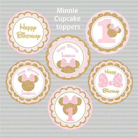 Cupcake Toppers Karakter Tema Foto 1 pink and gold minnie mouse cupcake toppers glitter cake baby gracelynn elaine