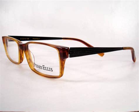 perry ellis 289 honey brown 3 new eyeglasses frames