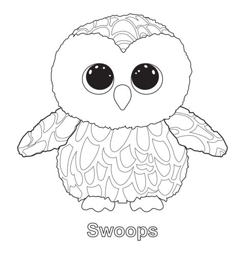 owl birthday coloring page swoops the owl ty beanie boo ty beanie boos pinterest