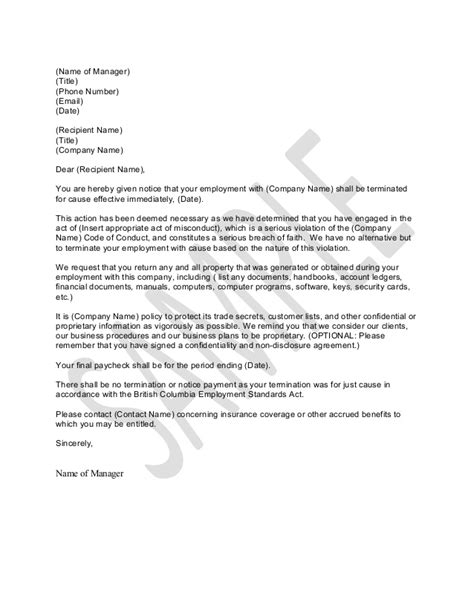 Termination Letter For Of Company Policy Sle Letter For Termination For Just Cause